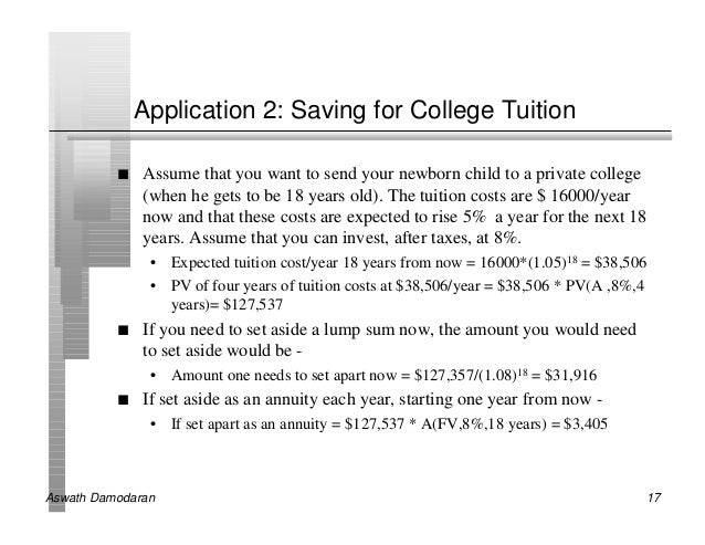 Application 2: Saving for College Tuition          n   Assume that you want to send your newborn child to a private colleg...