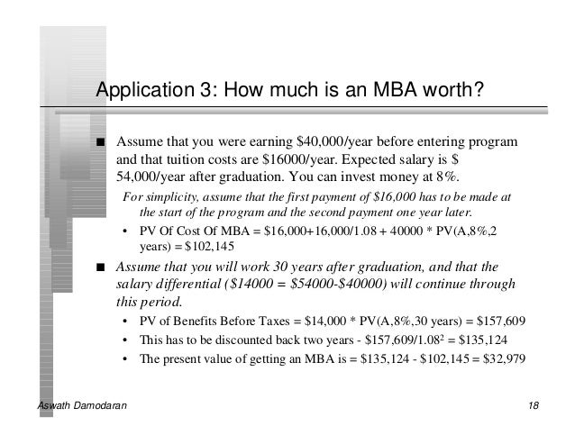 Application 3: How much is an MBA worth?          n   Assume that you were earning $40,000/year before entering program   ...