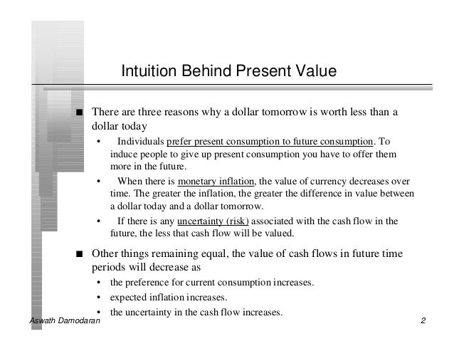 Intuition Behind Present Value          n   There are three reasons why a dollar tomorrow is worth less than a            ...