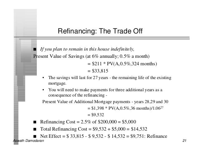 Refinancing: The Trade Off          n  If you plan to remain in this house indefinitely,          Present Value of Savings...