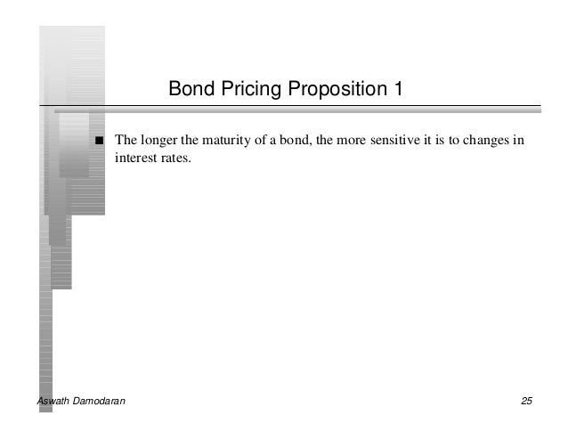 Bond Pricing Proposition 1          n   The longer the maturity of a bond, the more sensitive it is to changes in         ...