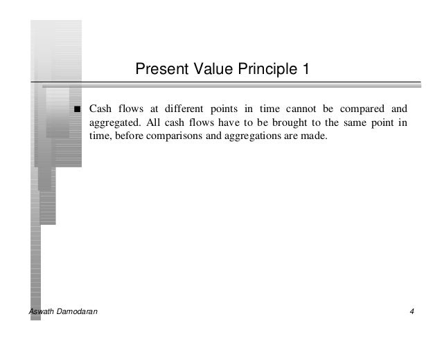 Present Value Principle 1          n   Cash flows at different points in time cannot be compared and              aggregat...