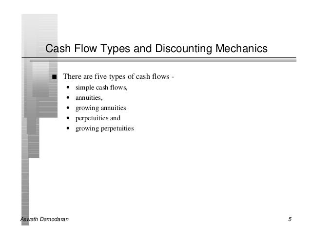 Cash Flow Types and Discounting Mechanics          n   There are five types of cash flows -               •   simple cash ...