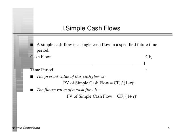 I.Simple Cash Flows          n  A simple cash flow is a single cash flow in a specified future time             period.   ...