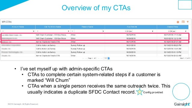 ©2015 Gainsight. All Rights Reserved. Overview of my CTAs • I've set myself up with admin-specific CTAs • CTAs to comple...
