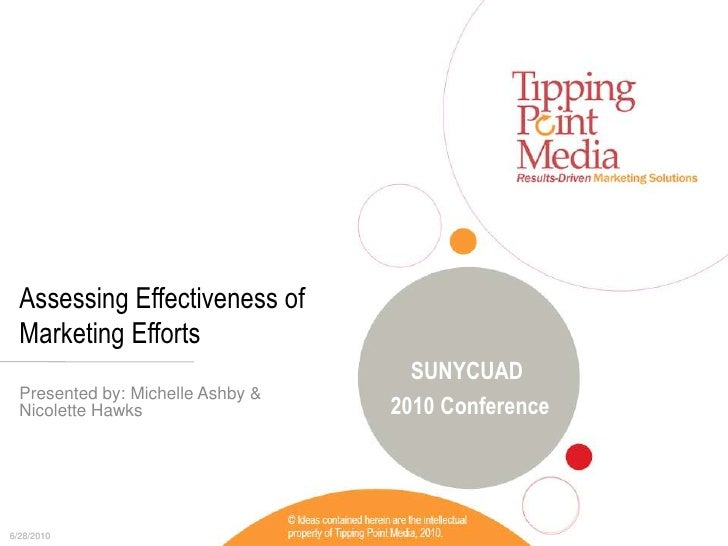 Assessing Effectiveness of Marketing Efforts<br />Presented by: Michelle Ashby &<br />Nicolette Hawks<br />SUNYCUAD <br />...