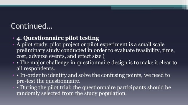 Pre pilot study meaning