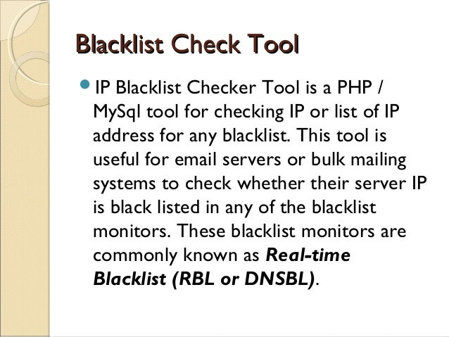 Tools for IP / EMAIL blacklist check