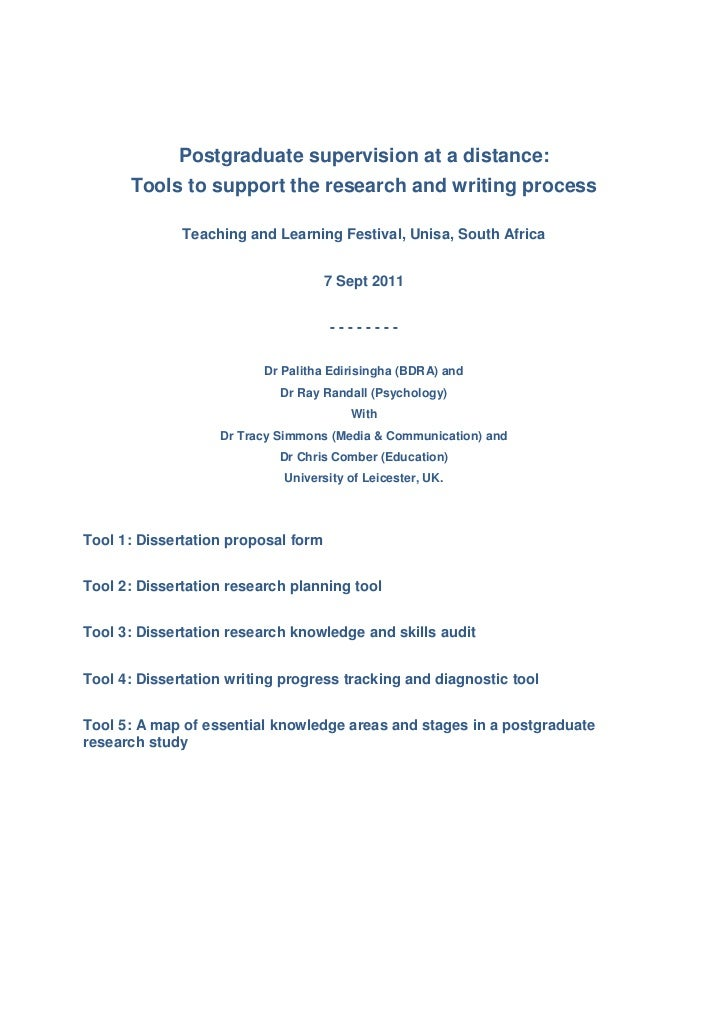 Postgraduate supervision at a distance:      Tools to support the research and writing process              Teaching and L...