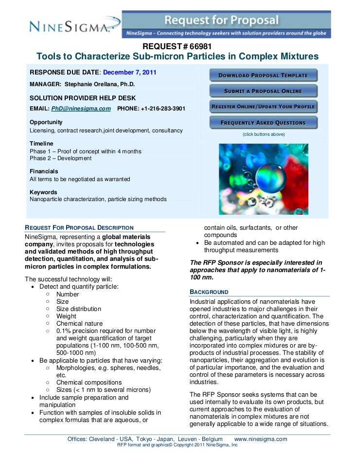 REQUEST # 66981    Tools to Characterize Sub-micron Particles in Complex Mixtures RESPONSE DUE DATE: December 7, 2011 MANA...