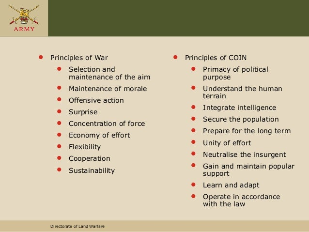 Directorate of Land Warfare  Principles of War  Selection and maintenance of the aim  Maintenance of morale  Offensive...