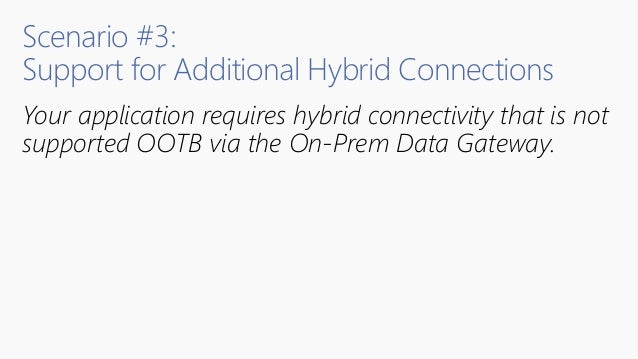Scenario #3: Support for Additional Hybrid Connections Your application requires hybrid connectivity that is not supported...