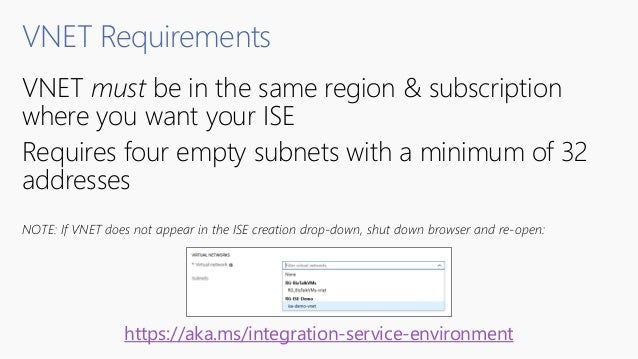 VNET Requirements VNET must be in the same region & subscription where you want your ISE Requires four empty subnets with ...