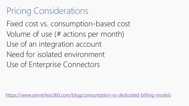 Pricing Considerations Fixed cost vs. consumption-based cost Volume of use (# actions per month) Use of an integration acc...