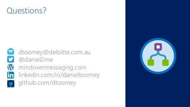 dtoomey@deloitte.com.au @daniel2me mindovermessaging.com linkedin.com/in/danieltoomey github.com/dtoomey Questions?