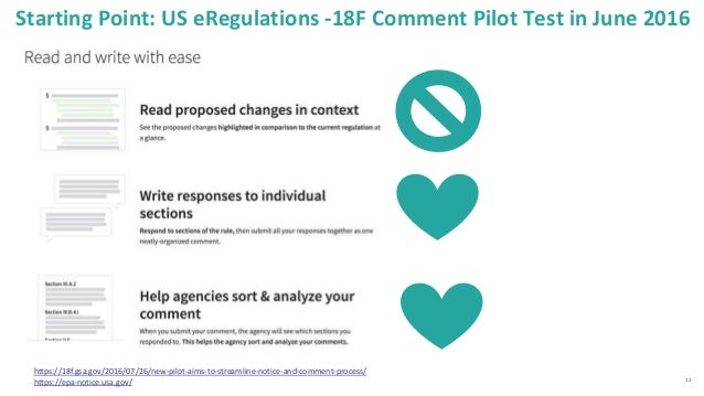 12 Starting Point: US eRegulations -18F Comment Pilot Test in June 2016 https://18f.gsa.gov/2016/07/26/new-pilot-aims-to-s...
