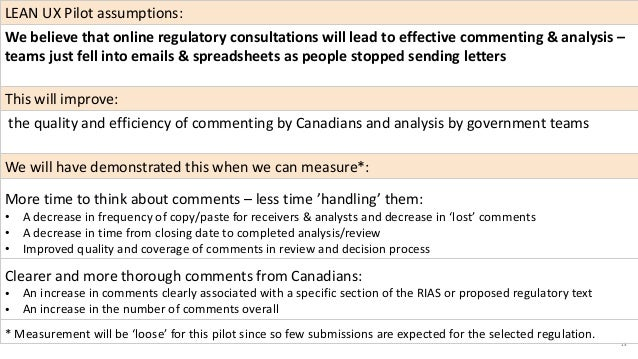 13 LEAN UX Pilot assumptions: We believe that online regulatory consultations will lead to effective commenting & analysis...
