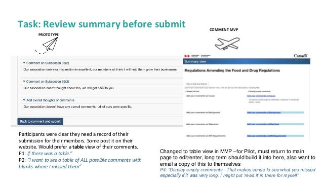 18 Task: Review summary before submit PROTOTYPE Participants were clear they need a record of their submission for their m...