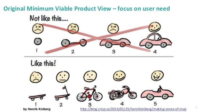 2 Original Minimum Viable Product View – focus on user need http://blog.crisp.se/2016/01/25/henrikkniberg/making-sense-of-...