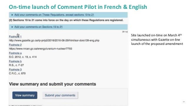 20 On-time launch of Comment Pilot in French & English Site launched on-time on March 4th simultaneous with Gazette on-lin...
