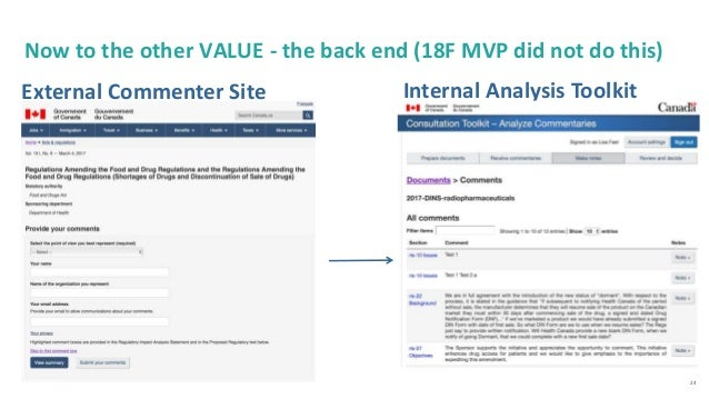 24 External Commenter Site Internal Analysis Toolkit Now to the other VALUE - the back end (18F MVP did not do this)