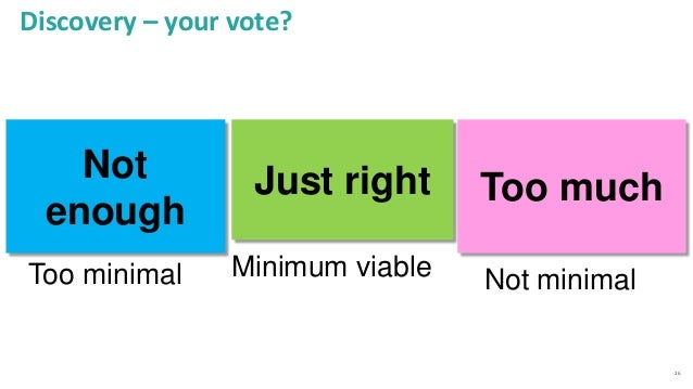 26 Discovery – your vote? Too much Too minimal Just right Minimum viable Not enough Not minimal