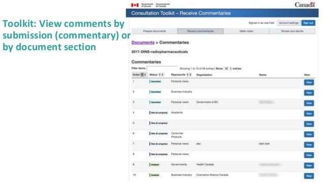 30 Toolkit: View comments by submission (commentary) or by document section