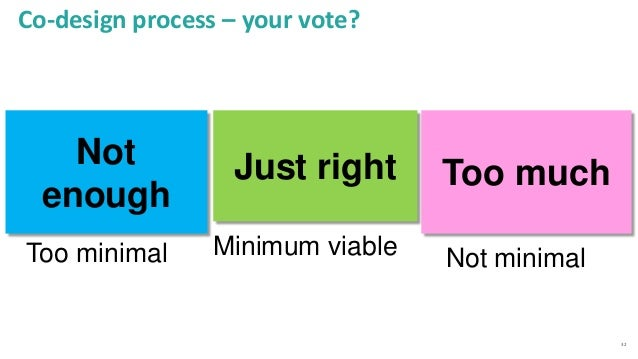 32 Co-design process – your vote? Too much Too minimal Just right Minimum viable Not enough Not minimal