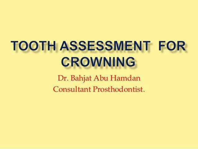 Dr. Bahjat Abu Hamdan Consultant Prosthodontist.