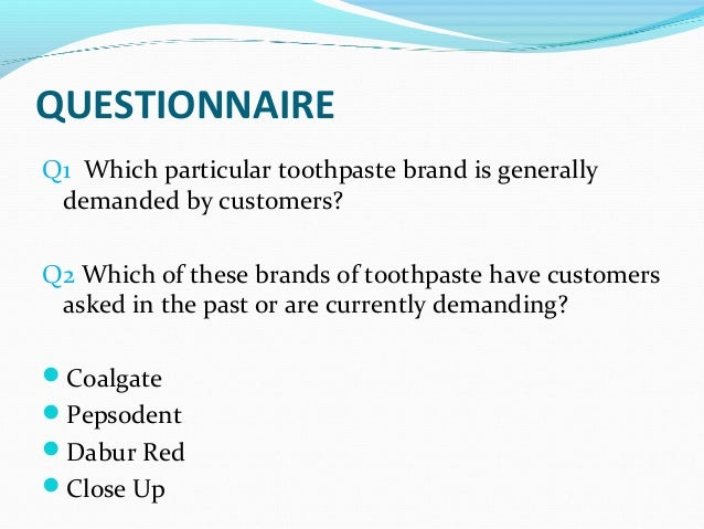 marketing and toothpaste Toothpaste market is a quite mature market, and any growth a brand will experience comes at the expense of another brand crest kept up with this competition by creating the whitening toothpaste segment, and crest whitestrips was first launched in 2001.