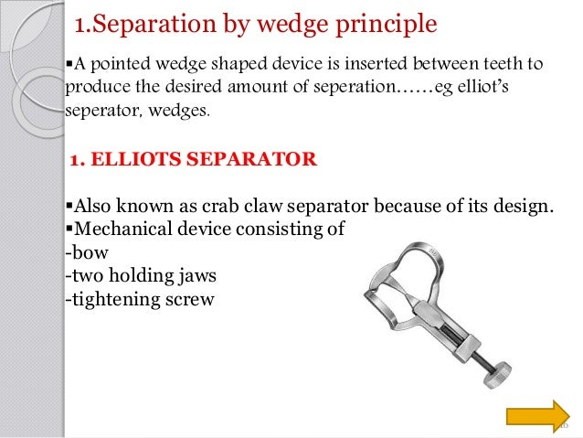 1.Separation by wedge principle A pointed wedge shaped device is inserted between teeth to produce the desired amount of ...