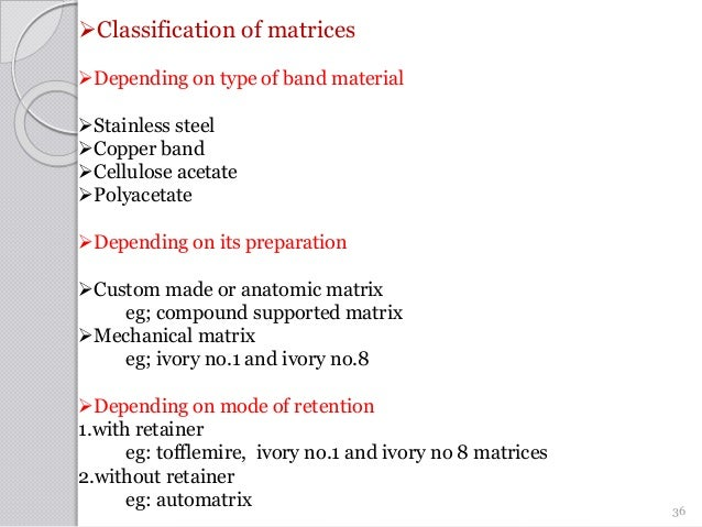 Classification of matrices Depending on type of band material Stainless steel Copper band Cellulose acetate Polyacet...