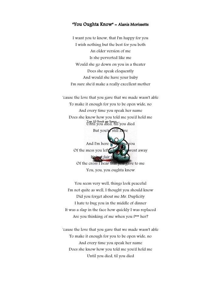 Lyric look up song by lyrics : Top 10 Break Up Songs