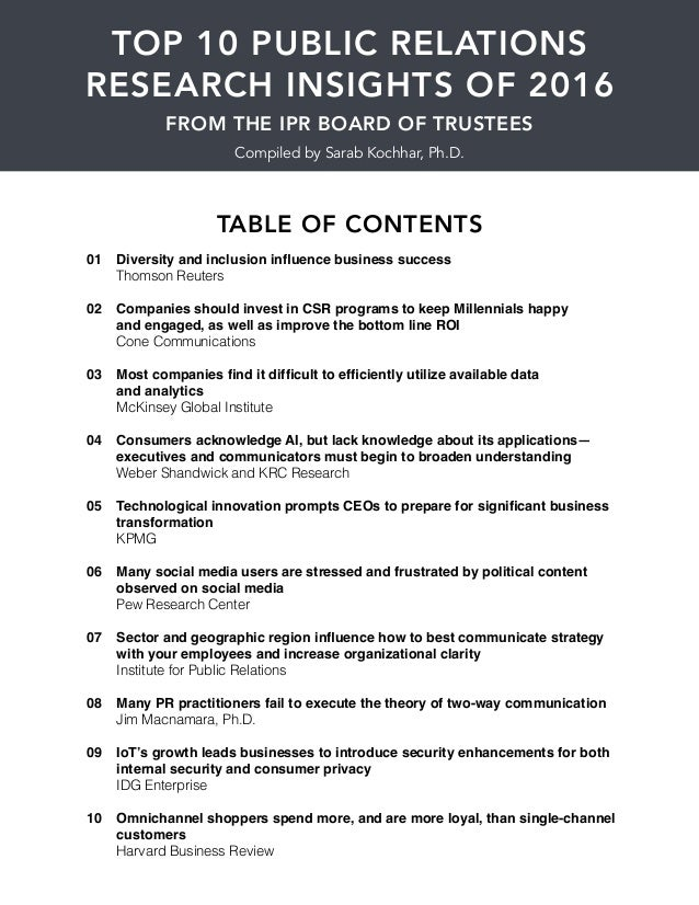 TOP 10 PUBLIC RELATIONS RESEARCH INSIGHTS OF 2016 Diversity and inclusion influence business success Thomson Reuters Compa...