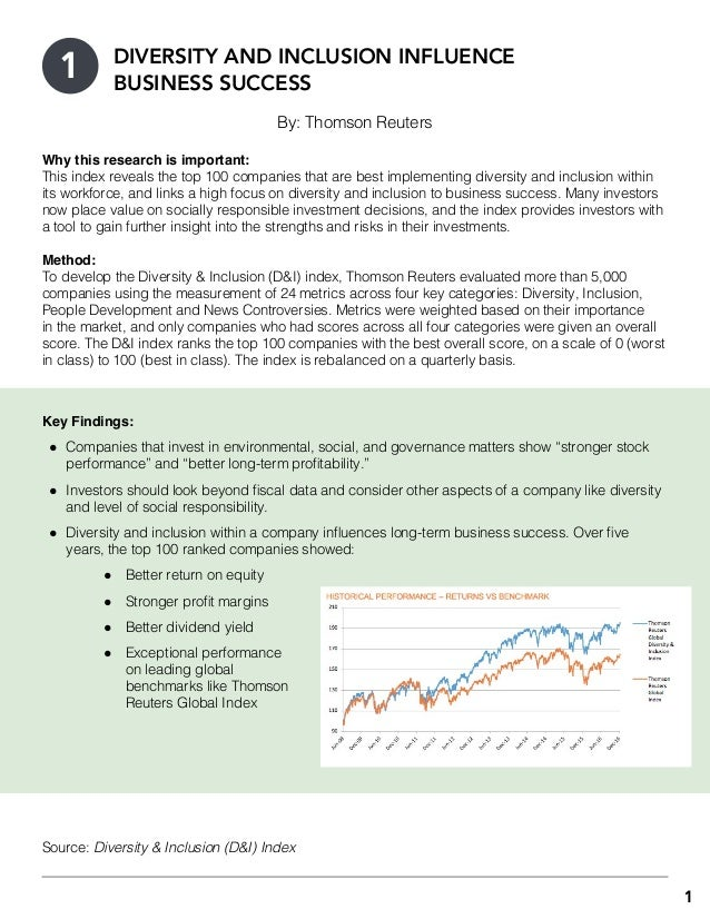 1 By: Thomson Reuters Why this research is important: This index reveals the top 100 companies that are best implementing ...