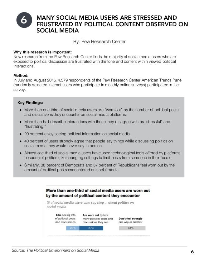 6 By: Pew Research Center MANY SOCIAL MEDIA USERS ARE STRESSED AND FRUSTRATED BY POLITICAL CONTENT OBSERVED ON SOCIAL MEDI...