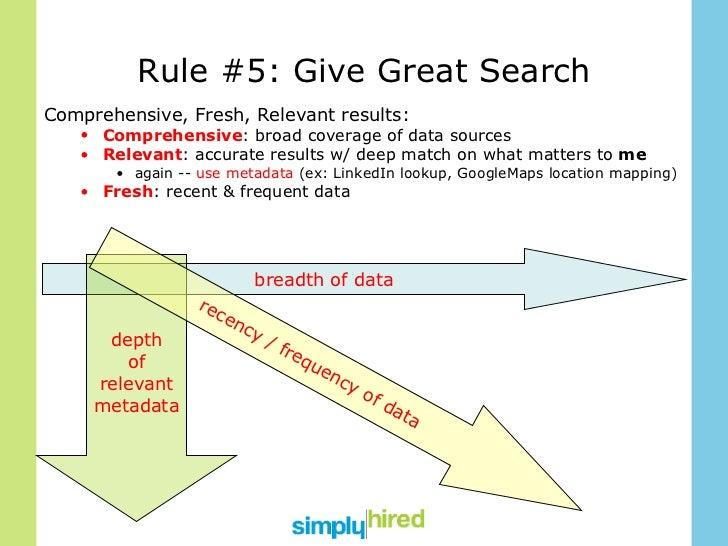 Rule #5: Give Great Search <ul><li>Comprehensive, Fresh, Relevant results: </li></ul><ul><ul><li>Comprehensive : broad cov...