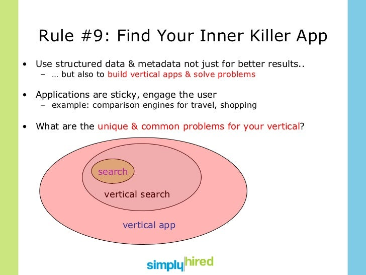 Rule #9: Find Your Inner Killer App <ul><li>Use structured data & metadata not just for better results.. </li></ul><ul><ul...