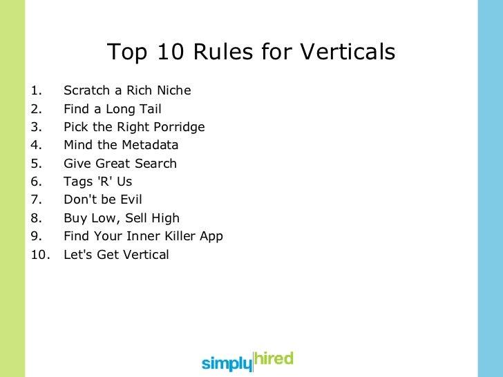 Top 10 Rules for Verticals <ul><li>Scratch a Rich Niche </li></ul><ul><li>Find a Long Tail </li></ul><ul><li>Pick the Righ...