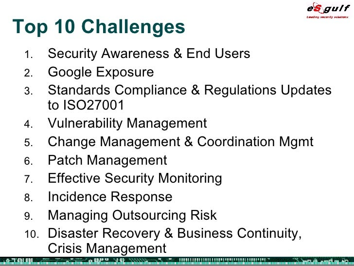 The Top 10 Challenges Of Special >> Top 10 Security Challenges