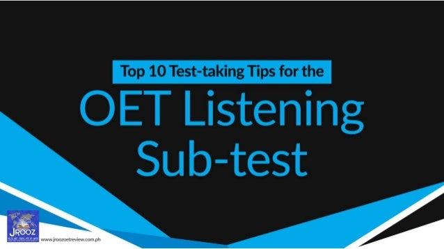 Top 10 Test-taking Tips for the OET Listening Sub-test Slide 1