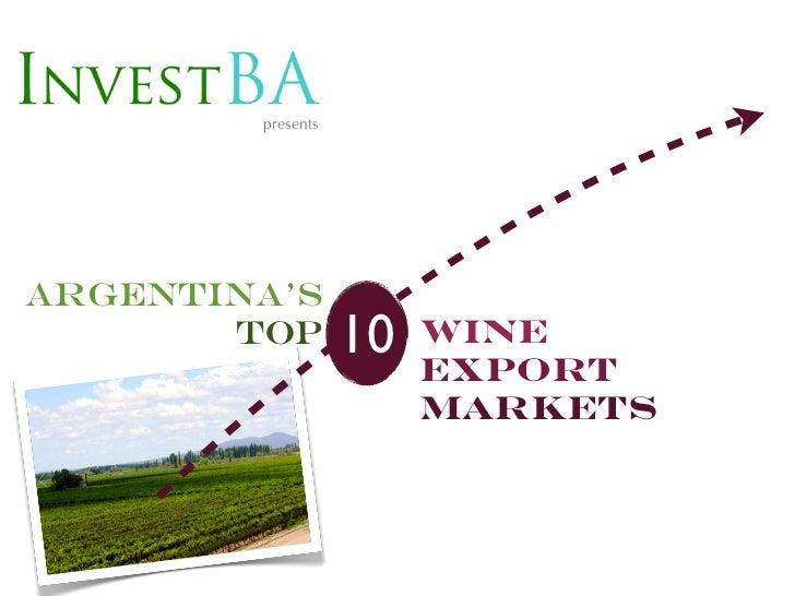 presentsArgentina's       top         10   wine                        Export                        Markets