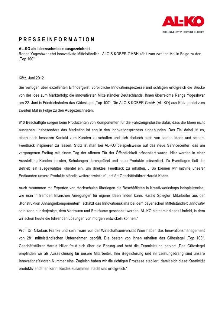 PRESSEINFORMATIONAL-KO als Ideenschmiede ausgezeichnetRanga Yogeshwar ehrt innovativste Mittelständler - ALOIS KOBER GMBH ...