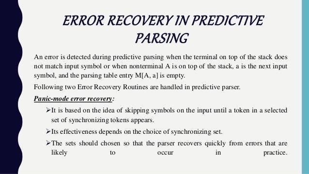 predictive parsing