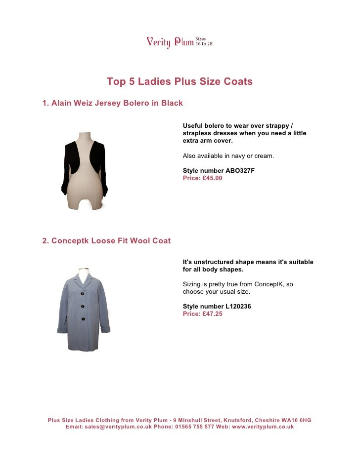 Top 5 Ladies Plus Size Coats1. Alain Weiz Jersey Bolero in Black                                                Useful bol...