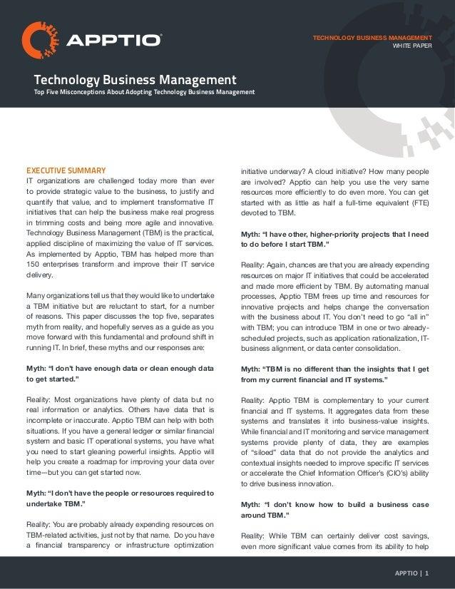 Technology Business Management Top Five Misconceptions About Adopting Technology Business Management TECHNOLOGY BUSINESS M...