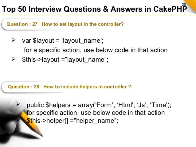 Top 50 Interview Questions and Answers in CakePHP