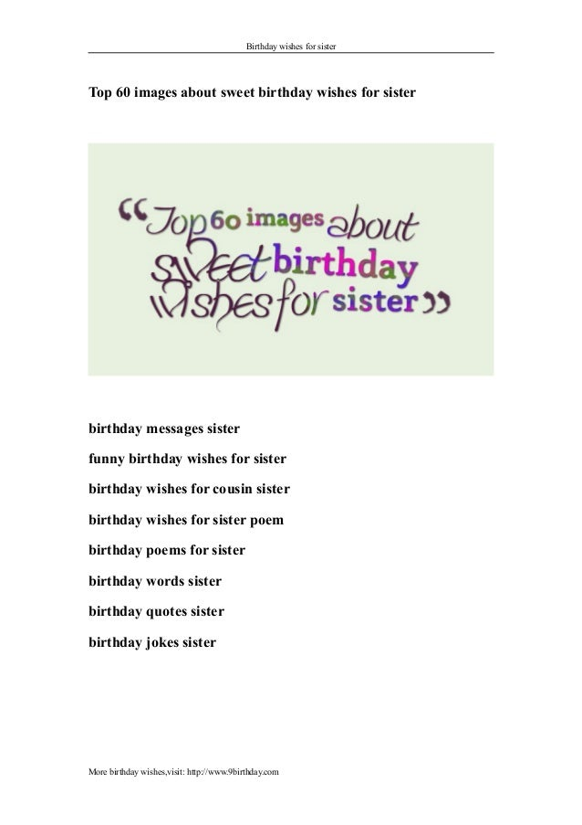 Birthday Wishes For Sister Top 60 Images About Sweet Messages