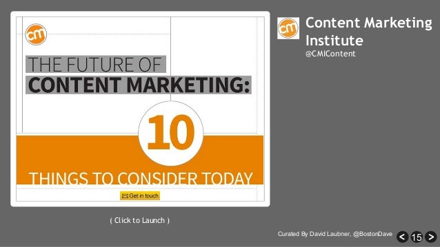 15 Content Marketing Institute @CMIContent ( Click to Launch ) Curated By David Laubner, @BostonDave