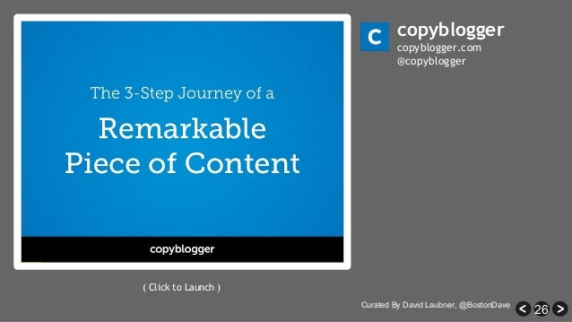 26 copyblogger copyblogger.com @copyblogger ( Click to Launch ) Curated By David Laubner, @BostonDave